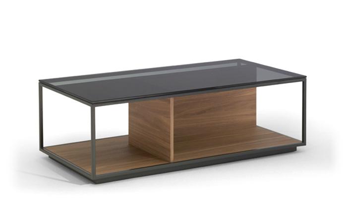 Mesa centro en madera, laca y cristal fumé