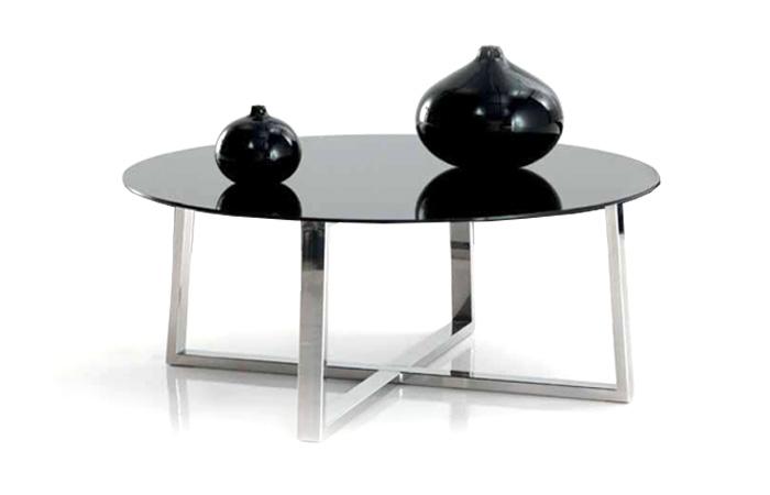 Mesa centro en vidrio y acero