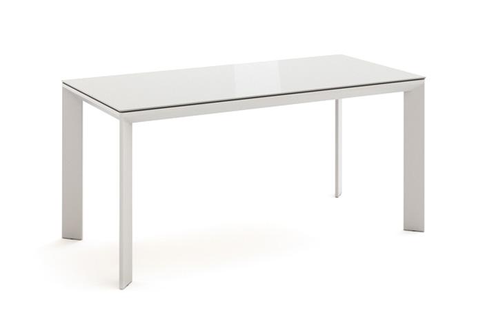 Mesa comedor en vidrio y acero lacado