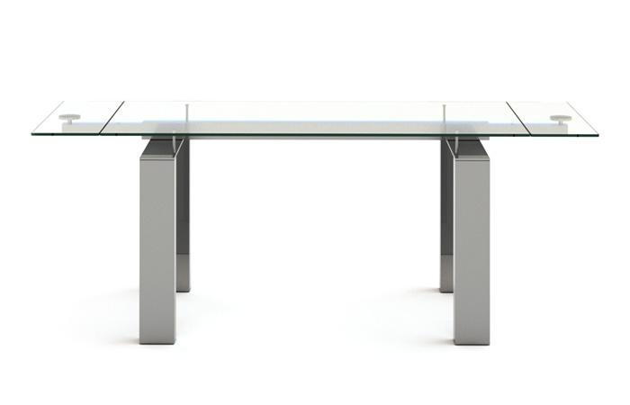 Mesa comedor en vidrio y acero